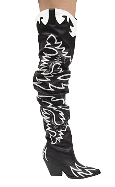 3cc9617d773 CAPE ROBBIN Kelsey-21 Black White Rock Star Western Pointed Slouchy Over  Knee Thigh Boot