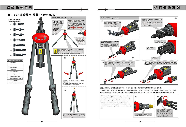 RZX 17'' RIVET NUT TOOL Hand Blind Riveter,RIVNUT Riveting Tools with Nut Setting System M3 M4 M5,m6,m8,m10 M12, 10-24, 1/4-20, 5/16-18,3/8-16,totally 11 mandrels+110PCS Rivets Nuts (17'' RIVET GUN) by RZX (Image #4)