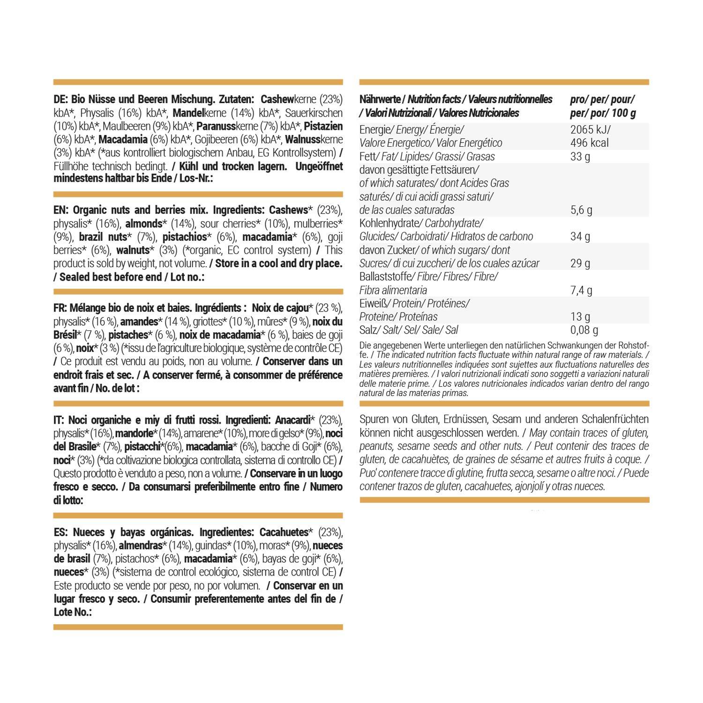 foodspring Orgánica Frutos secos y bayas, pack de 8 x 80g, Frutos secos y bayas selectos: Amazon.es: Alimentación y bebidas