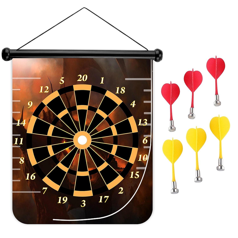 15インチMagnetic Dart Board Double Sided Hanging Dart Board Set and Bullseyeゲーム。Demon B079KDZJWK