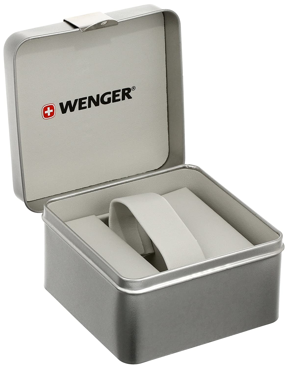 Amazon.com: Wenger Mens 01.1051.103 Escort Stainless Steel Watch with Black Leather Band: Watches