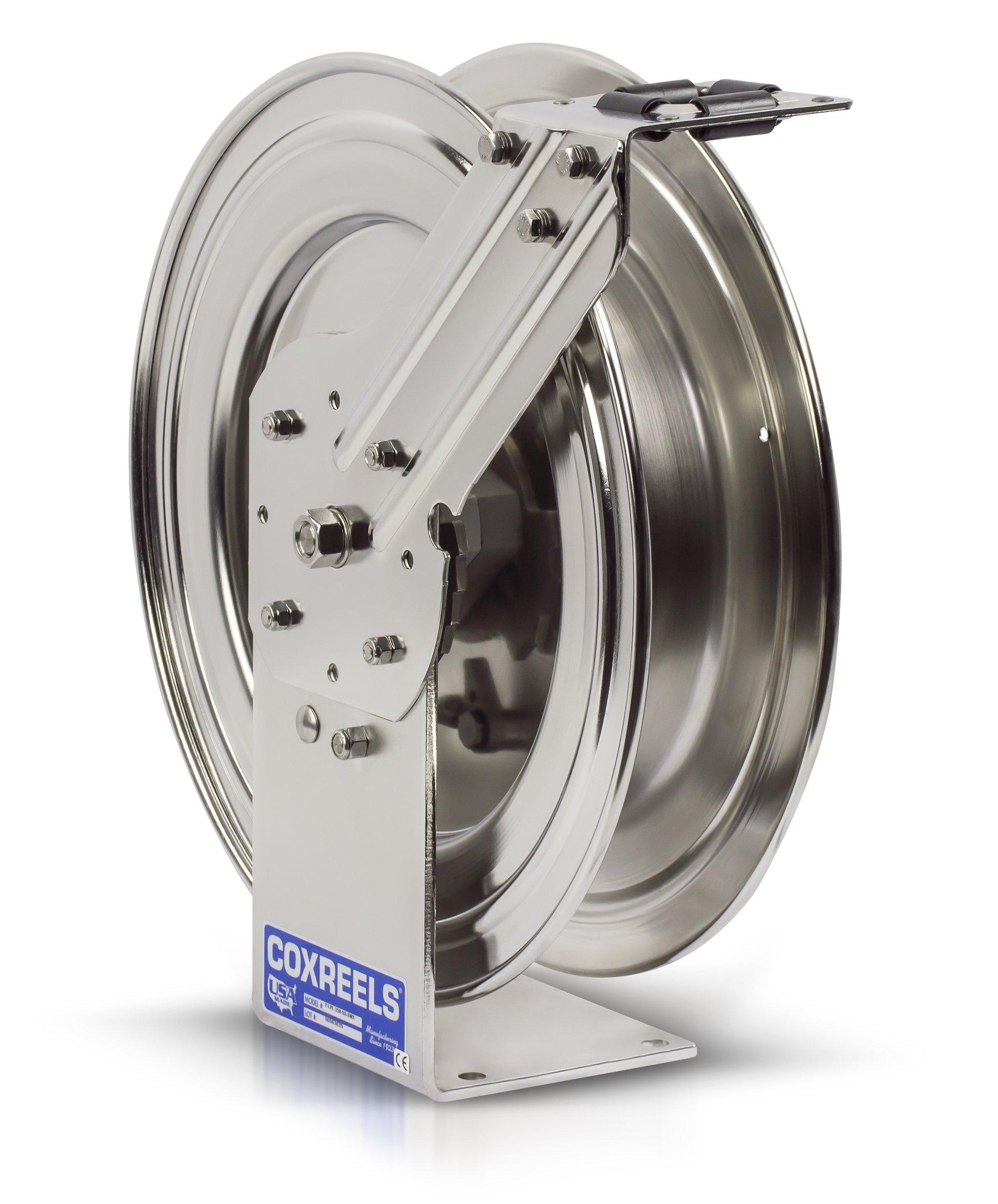 Coxreels P-LPL-425-SS Stainless Steel Spring Rewind Hose Reel: 1/2'' I.D, 25' hose capacity, less hose, 300 PSI