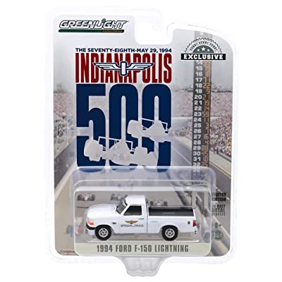 1994 Ford F-150 Lightning Pickup Truck White 78th Annual Indianapolis 500 Mile Race Official Truck 1/64 Diecast Model Car by Greenlight 30103: Toys & Games