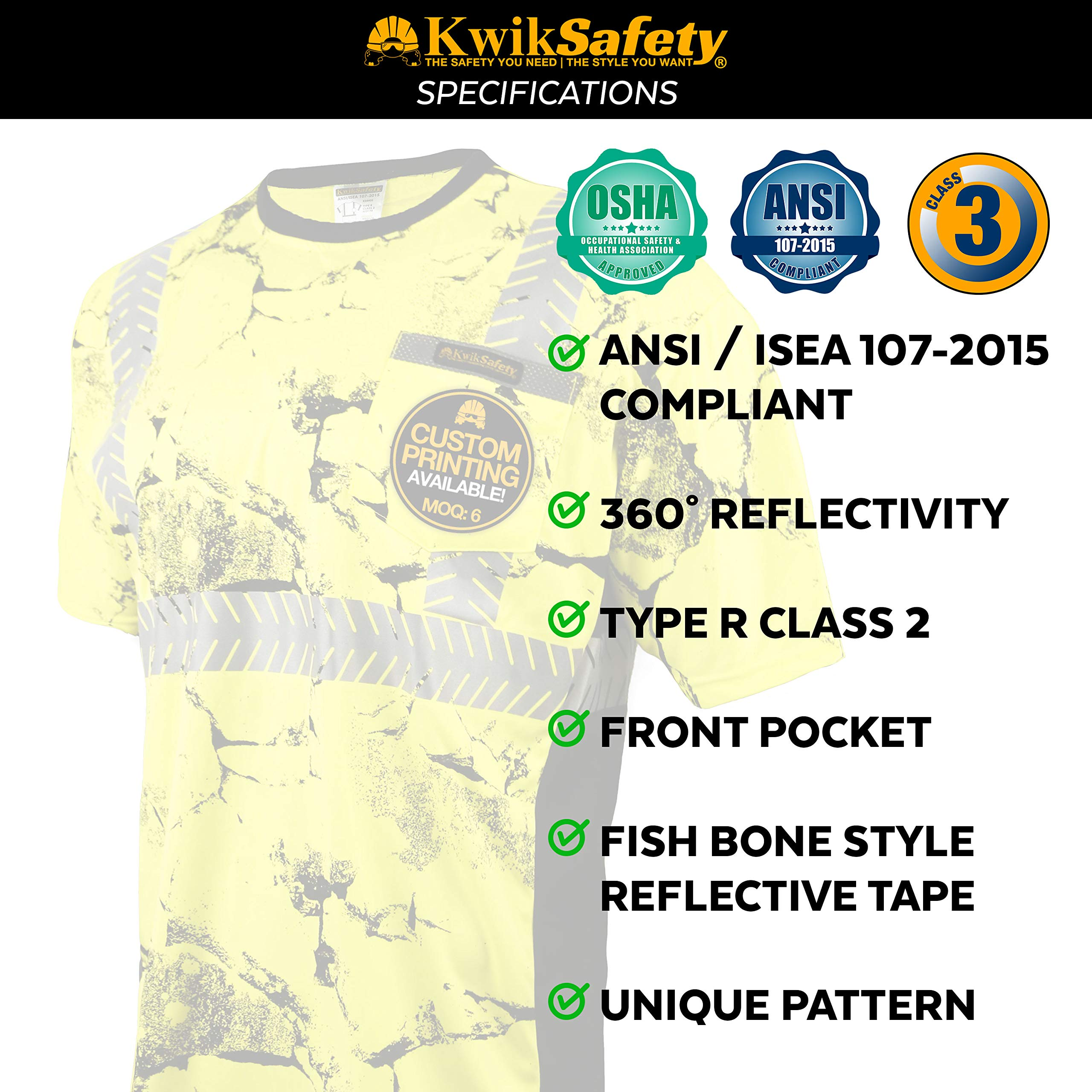 KwikSafety (Charlotte, NC) UNCLE WILLY'S WALL (Chest Pocket) Class 2 ANSI High Visibility Safety Shirt Fishbone Reflective Tape Construction Hi Vis Clothing Men Short Sleeve Camo Yellow Black XX-Large by KwikSafety (Image #6)