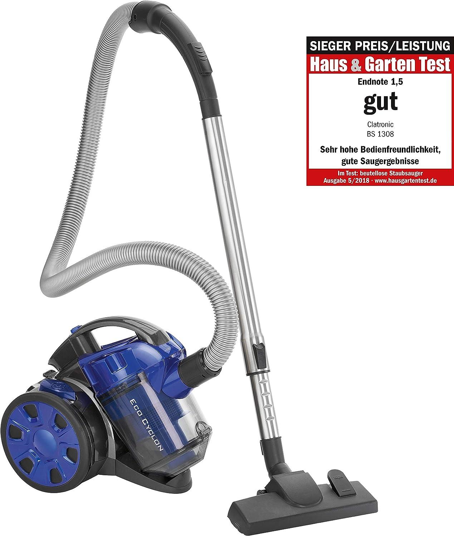 700 W Amarillo tubo telesc/ópico metal filtro HEPA cepillo mixto y rinconera,eficiencia energ/ética A A Clatronic BS 1308 Aspiradora cicl/ónica sin bolsa potente