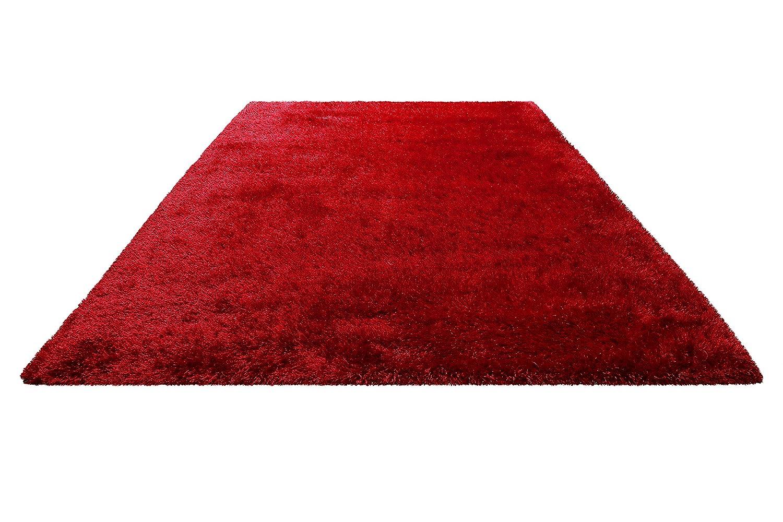 Homie Living I Moderner weicher Hochflor Teppich - Läufer für Wohnzimmer, Flur, Schlafzimmer, Kinderzimmer I Asti I (70 x 140 cm, Rot)