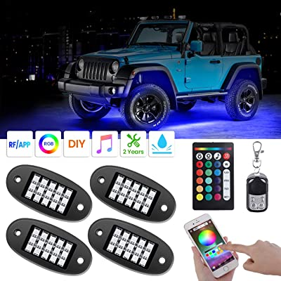AMBOTHER RGB LED Rock Lights with Remote Music Mode: Automotive