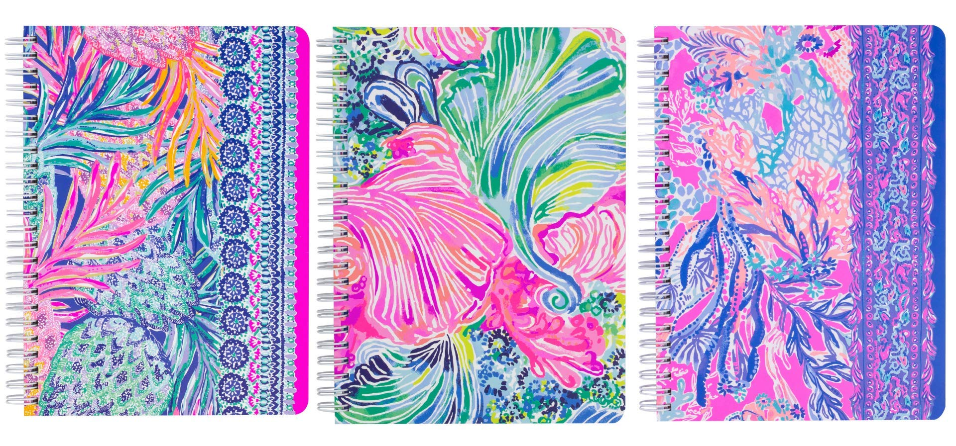 Lilly Pulitzer Set of 3 Mini Spiral Notebook Set, 8.25'' x 6.5'' with 160 pages (Aquadesiac, Gypset, Beach Please)