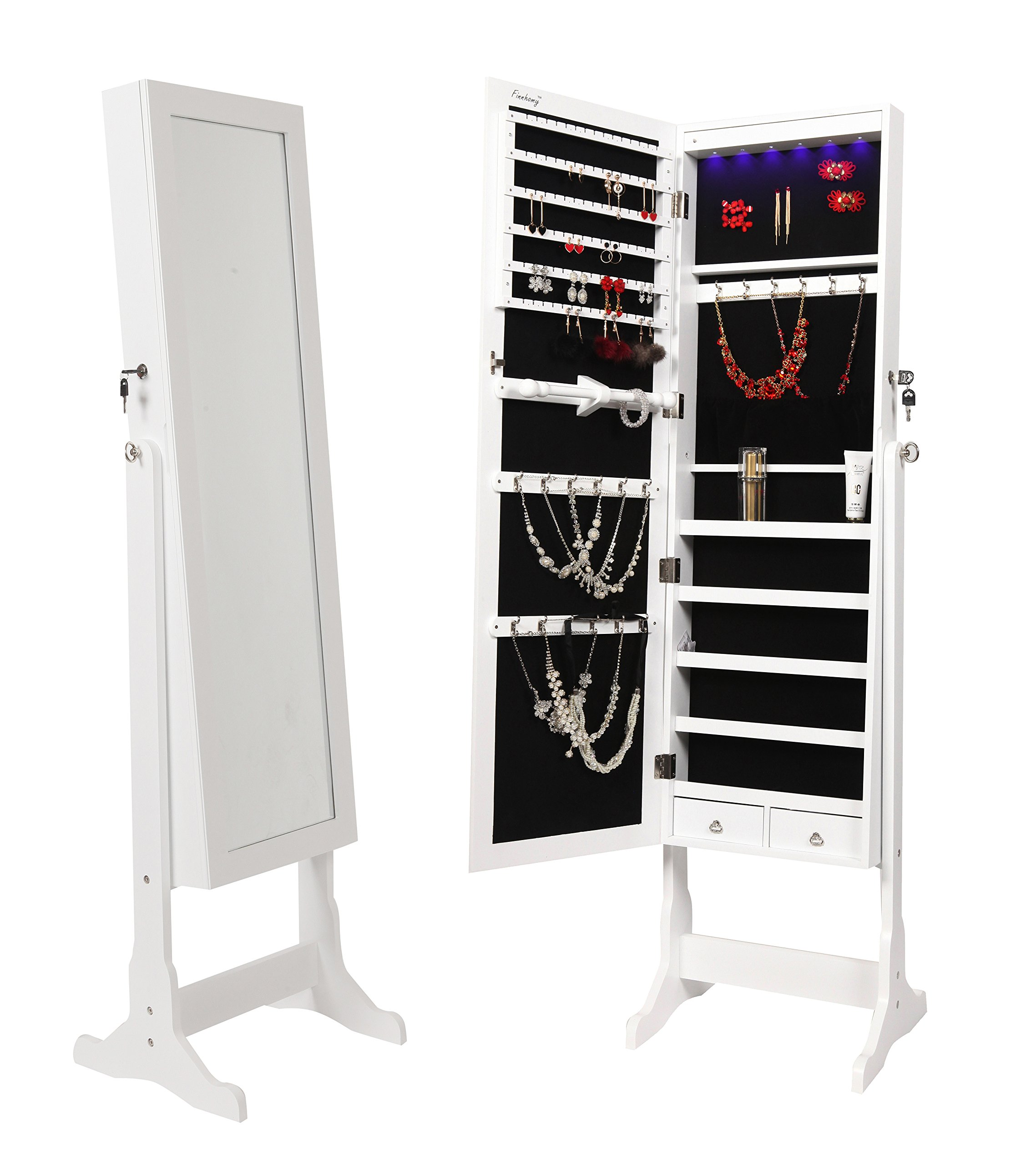 FINNHOMY Lockable Mirrored Jewelry Armoire Storage Organizer Free Standing Makeup Cabinet Holder w LED Light Stand for Ring Necklace Earring Cosmetics Broach Bracelet, White