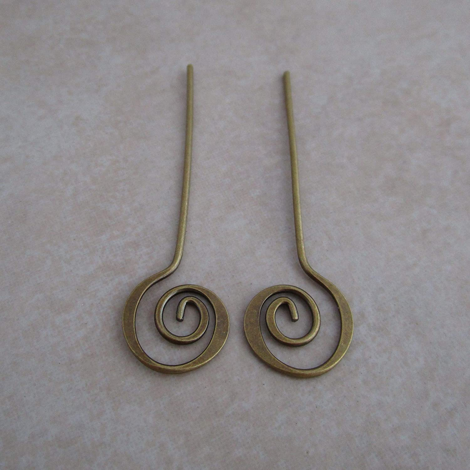 24 Antiqued Gold Plated Brass Swirl headpins