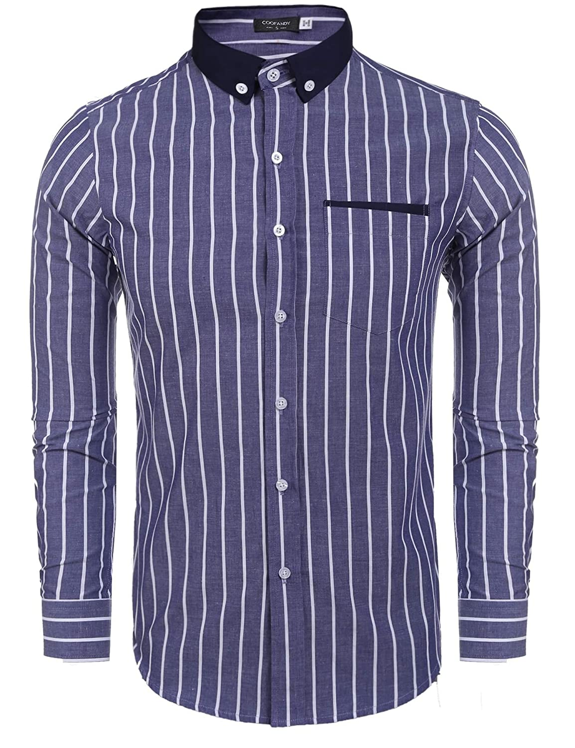Coofandy Mens Pinpoint Slim Fit Striped Contrast Color Button Down