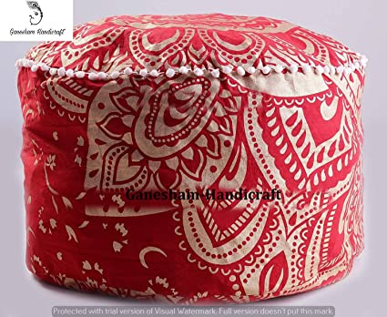 Groovy Amazon Com Home Decorative Ottoman Handmade Pouf Indian Andrewgaddart Wooden Chair Designs For Living Room Andrewgaddartcom