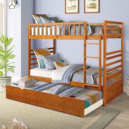 Rockjame - Litera doble para cama individual, diseño de ahorro de espacio, muebles de dormitorio con cama nido de madera maciza, escalera y riel de seguridad para niños y niñas: Amazon.es: Hogar