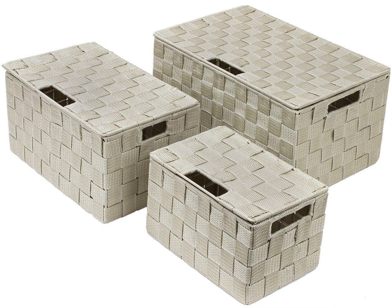 Sorbus Storage Box Woven Basket Bin Container Tote Cube Organizer Set Stackable Storage Basket Woven Strap Shelf Organizer Built-in Carry Handles Gray WEV2-GRYA