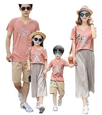 Afaly 親子お揃い服 半袖Tシャツ&パンツの2点セット 花鳥柄