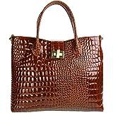 Olivia - OLIVIA - Sac à main cuir véritable / Sac en cuir marron façon CROCO N1403 - LIVRAISON GRATUITE - Marron