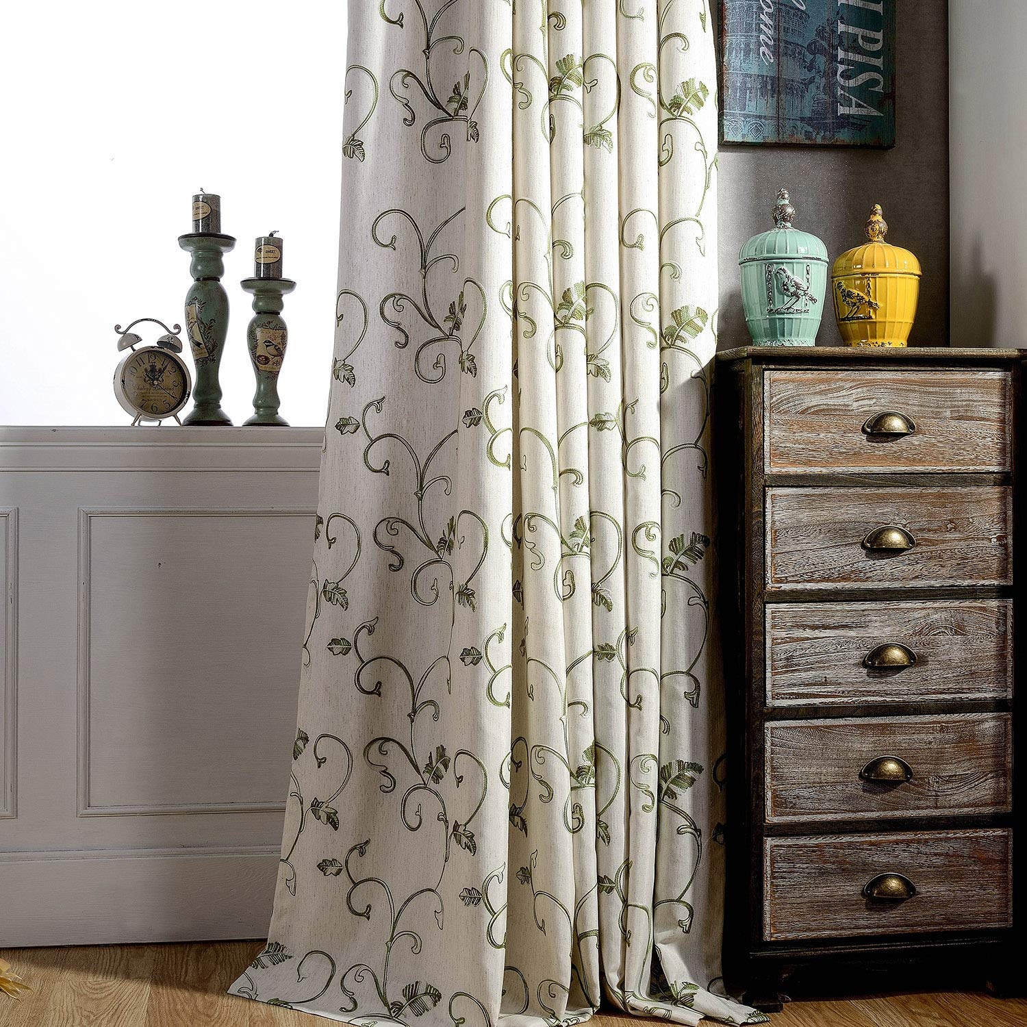 Leeva (Set of 2 Plant Embroidery Outdoor Curtains 84 Inches Length, Top Grommet Vintage Style Curtain Drapes for Living Room Patio and Kids Room, Green, 52 x 84 Inch by Leeva