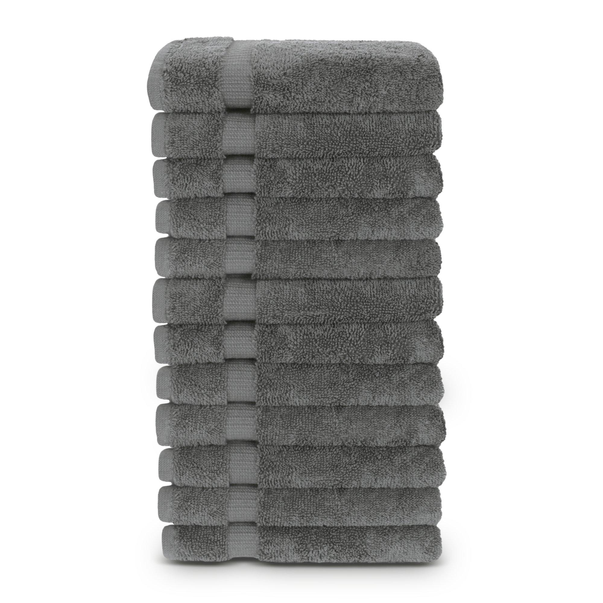 12-Piece Turkish Cotton Dobby Border Eco Friendly Face Towel/Washcloths Set by Turkuoise Turkish Towel (Gray)
