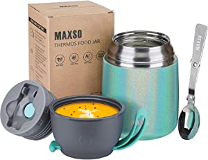 Insulated Food Jar for Hot & Cold Food for Kids Adult 17 oz Soup Thermos Hot Food Containers for Lunch Insulated Lunch Box with Spoon Glitter Peacock (1 Pack)