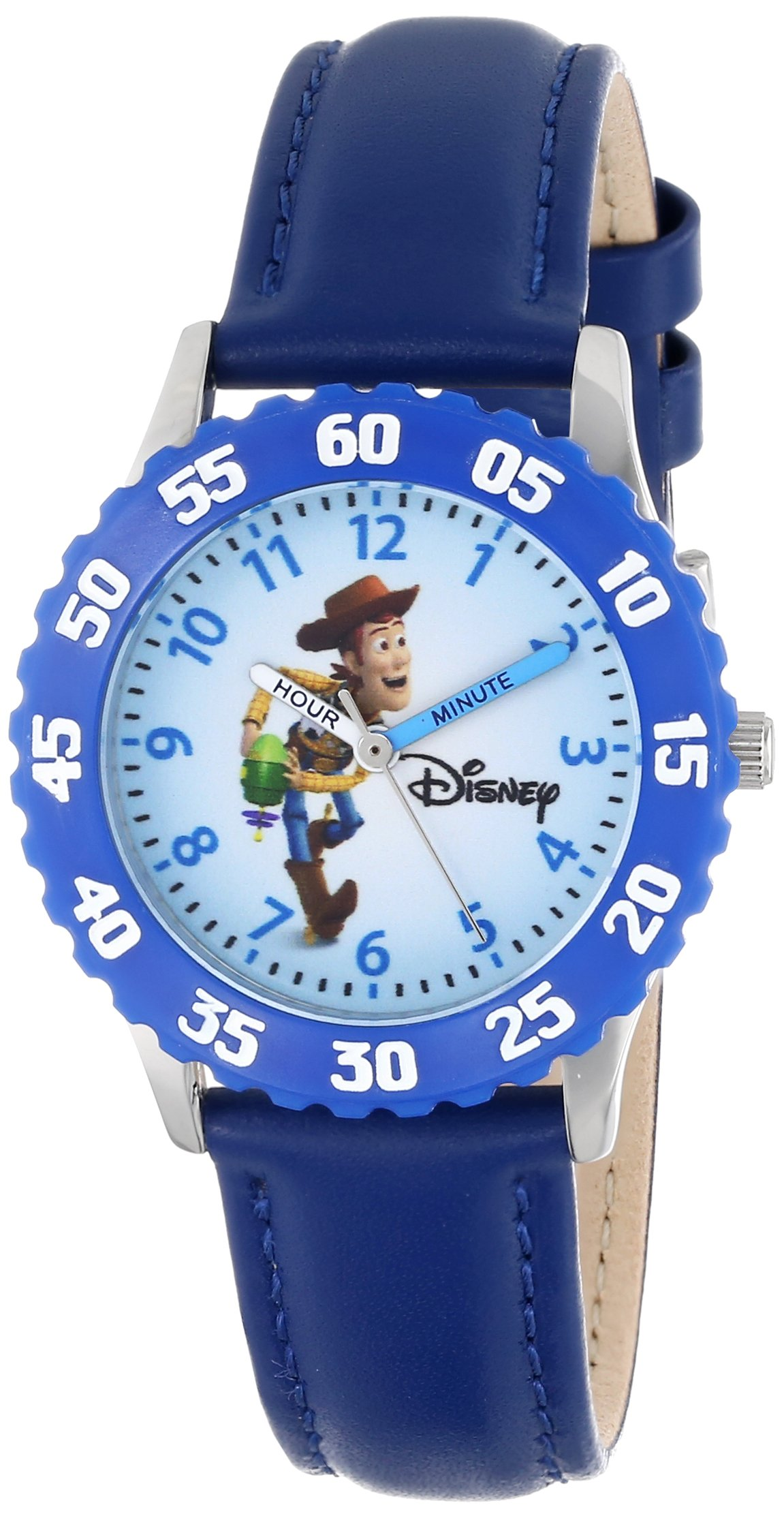 Disney Kids' W000062 ''Time Teacher'' Toy Story 3 Woody Stainless Steel Watch With Blue Leather Band by Disney