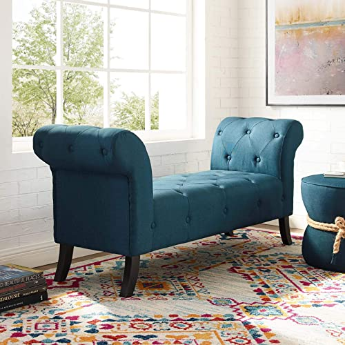 Modway Evince Button Tufted Accent Upholstered Fabric Bench, Blue