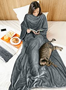 Fleece Wearable Blanket with Sleeves for Women Men, Super Soft Warm Cozy Micro Plush Functional Lightweight TV Wrap Robe Throw Blanket with Pocket for Lounge Couch Home Office, Gray