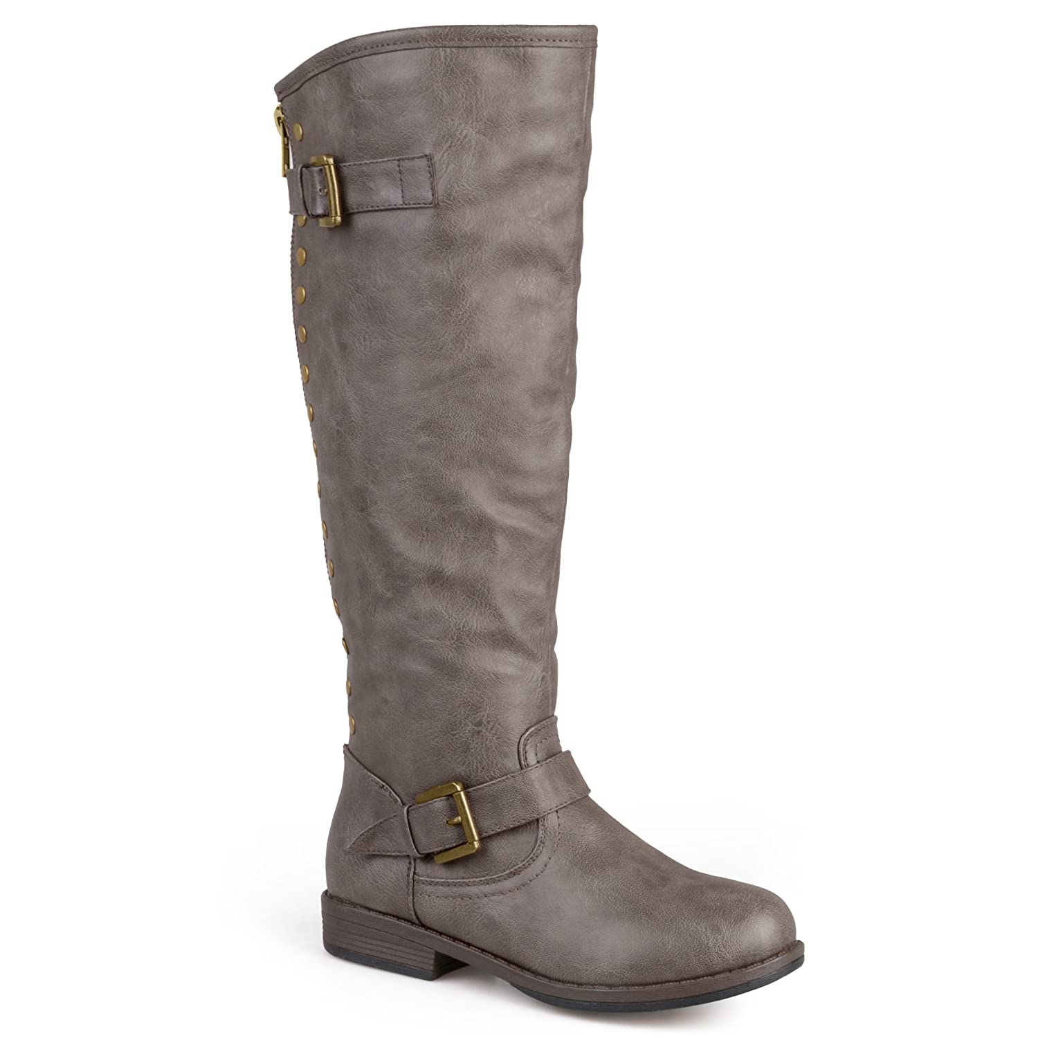 Journee Collection Womens Regular Sized, Wide-Calf and Extra Wide-Calf Studded Knee-High Riding Boot B00FBZXX26 9 W US|Taupe