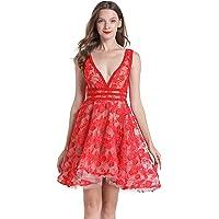 SZTSAGET RED-19030, Party Dress, V Neck Dress with Skirt, Bridal, Evning Dress, Short Dress