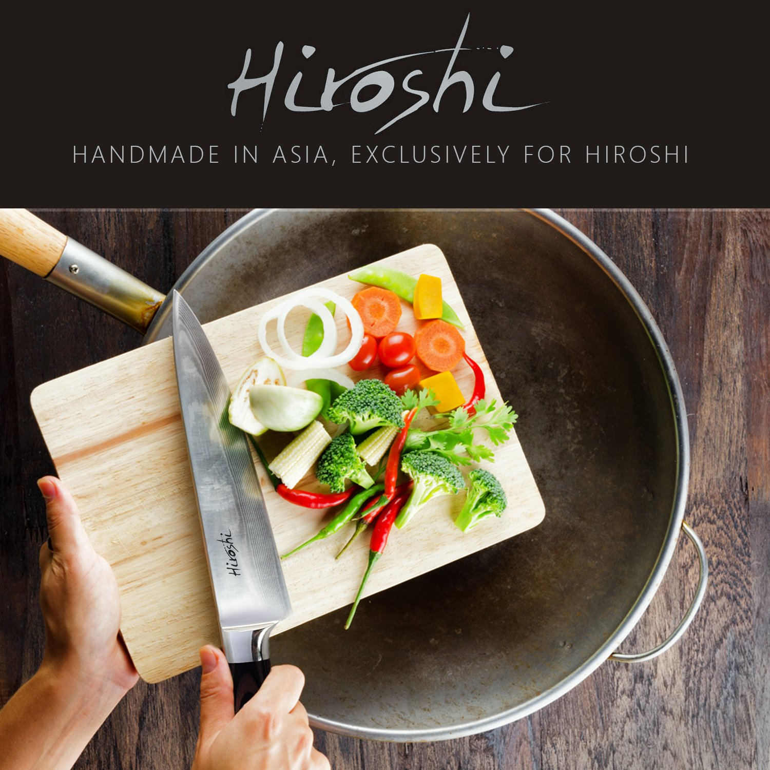 Premium Sushi & Sashimi Chef's Knife – 8'' Ultra High Carbon Damascus Steel – Presented In A Beautiful Gift Box (Black Handle) by HIROSHI (Image #7)