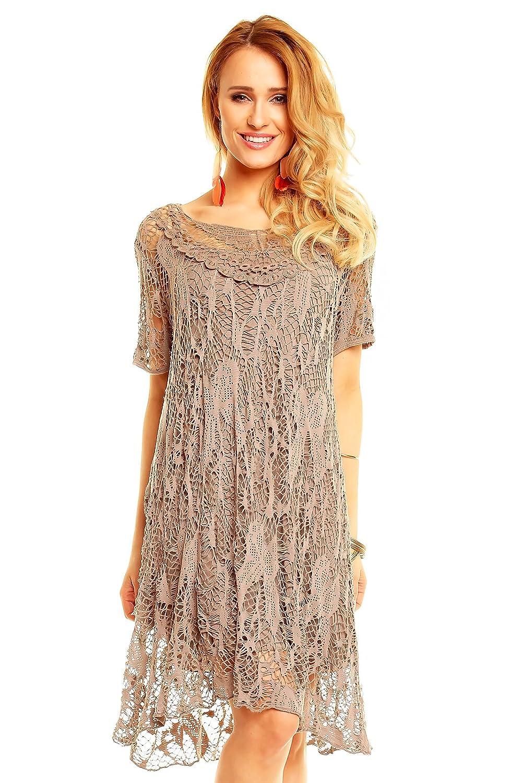 8135 Damen Kleid Sommerkleid Ladies Tunika 2 Tlg Spitze Lagenlook Zipfel Shirt