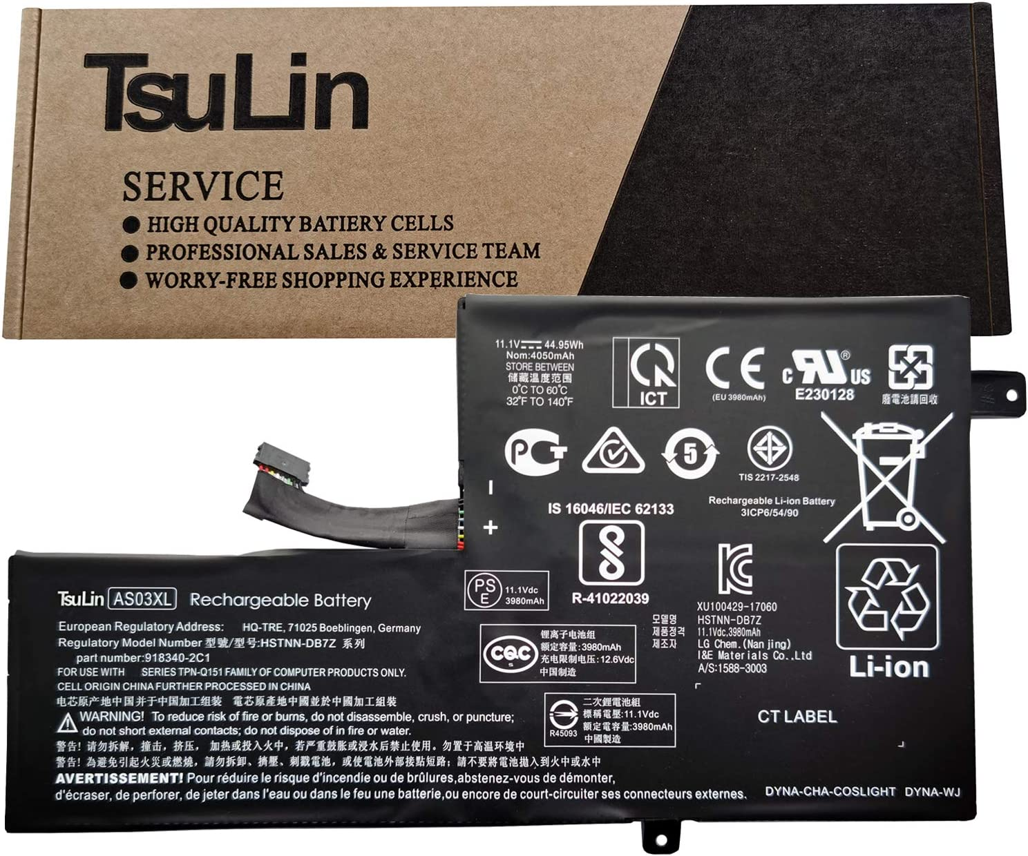 TsuLin HSTNN-DB7Z AS03XL Laptop Battery Compatible with HP Chromebook 11 G5 EE TPN-Q151 Series Notebook ASO3XL HSTNN-IB7W 11.1V 44.95Wh 4050mAh