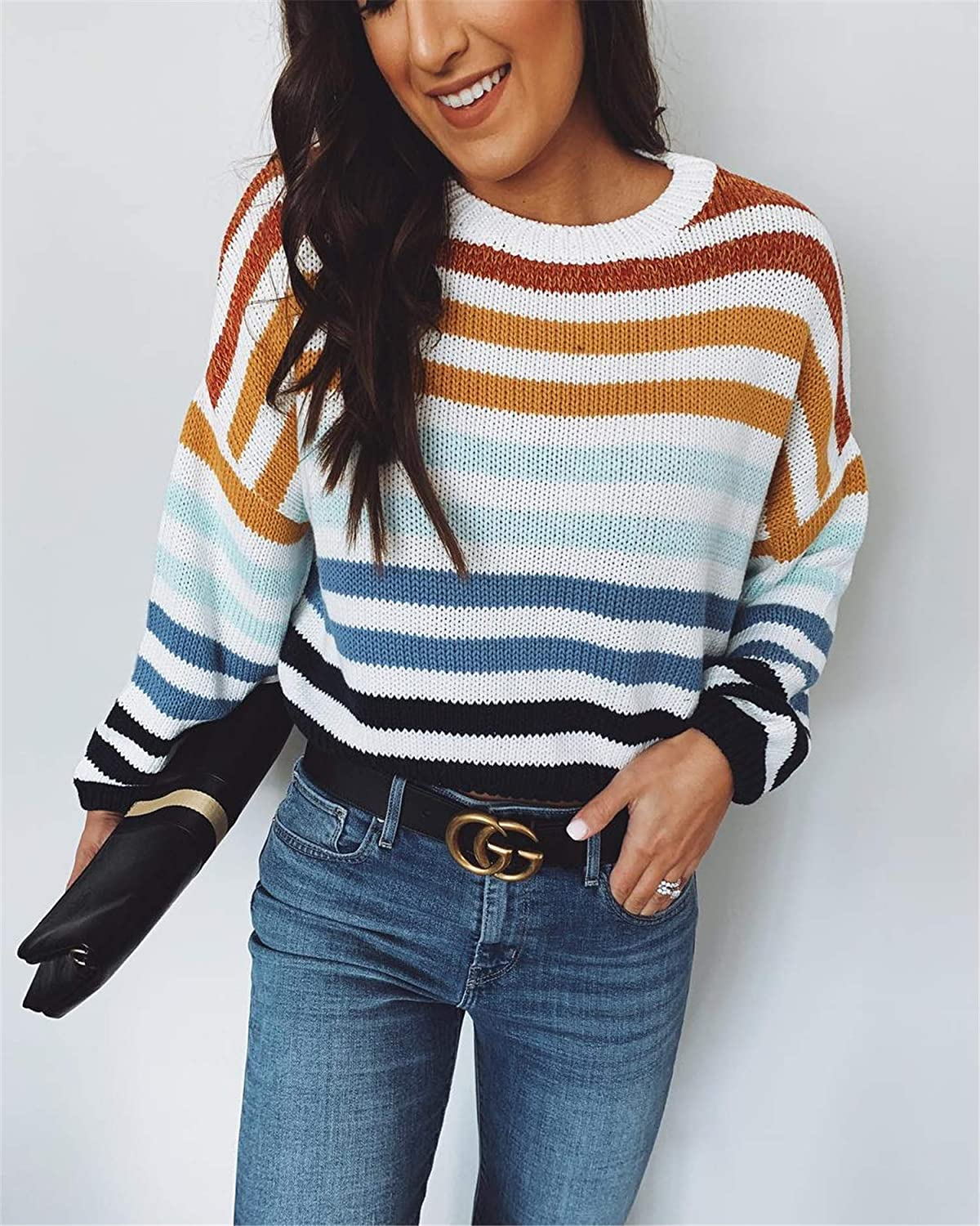 YHBAO Women Striped Knitted Sweater Long Sleeve Crew Neck Color Block Pullover Tops