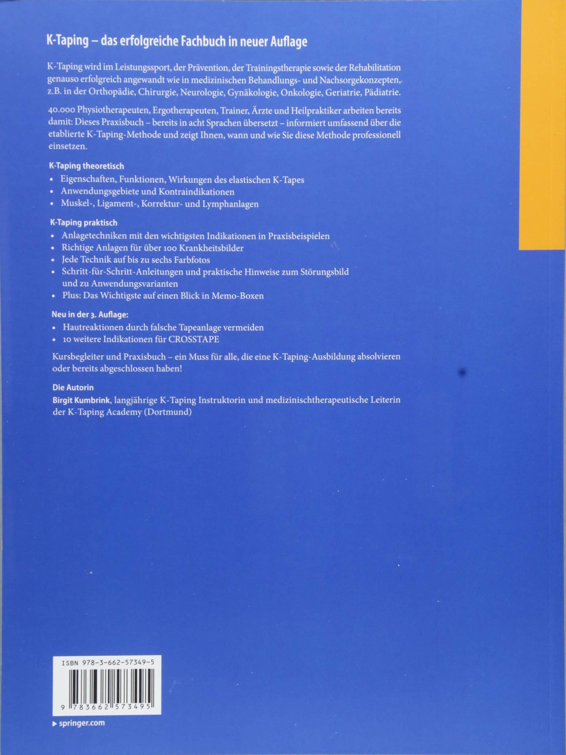 K-Taping: Grundlagen - Anlagetechniken - Indikationen: Birgit Kumbrink:  9783662573495: Sports Medicine: Amazon Canada