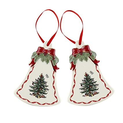 spode christmas tree bell shaped ornaments gold ribbons set of 2 - Christmas Tree Bell Decoration
