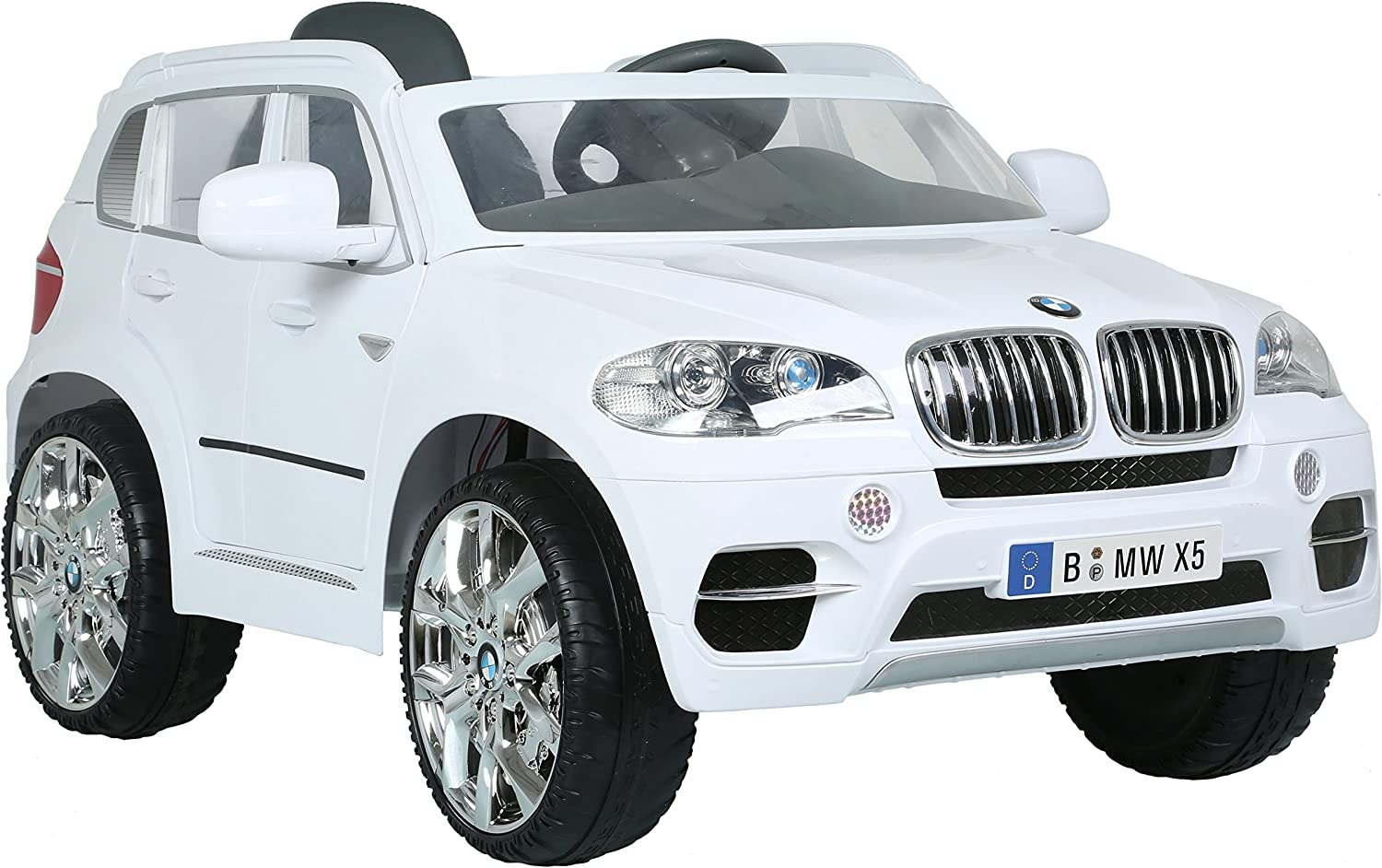 Up to 4 km//h 12-Volt Battery ROLLPLAY Premium Electric Car Reverse Gear With Remote Control Up to 35 kg BMW X5 SUV Black For Children 3 Years and Older