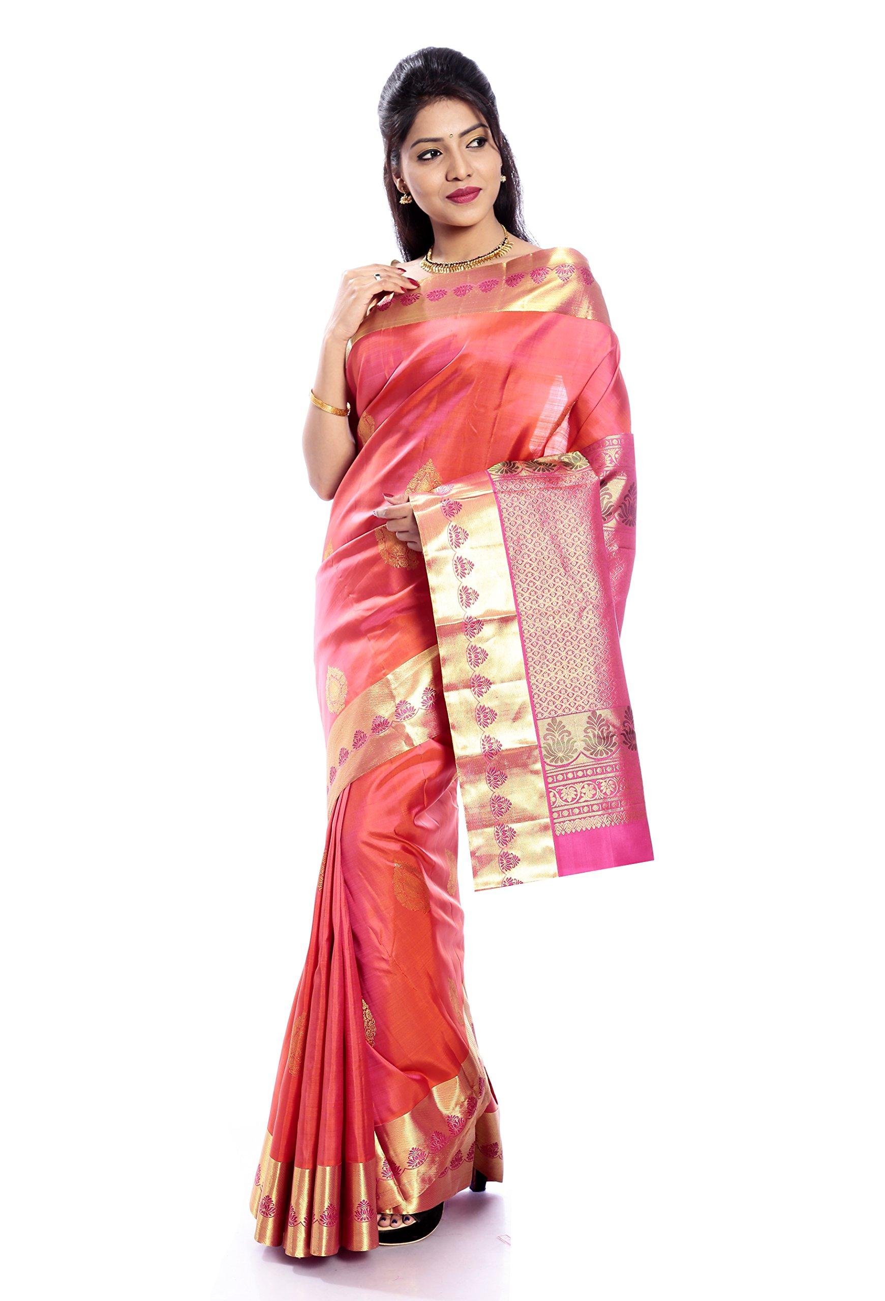 Mandakini — Indian Women's Kanchipuram - Handloom - Pure Silk Saree (Orange pink ) (MK224)