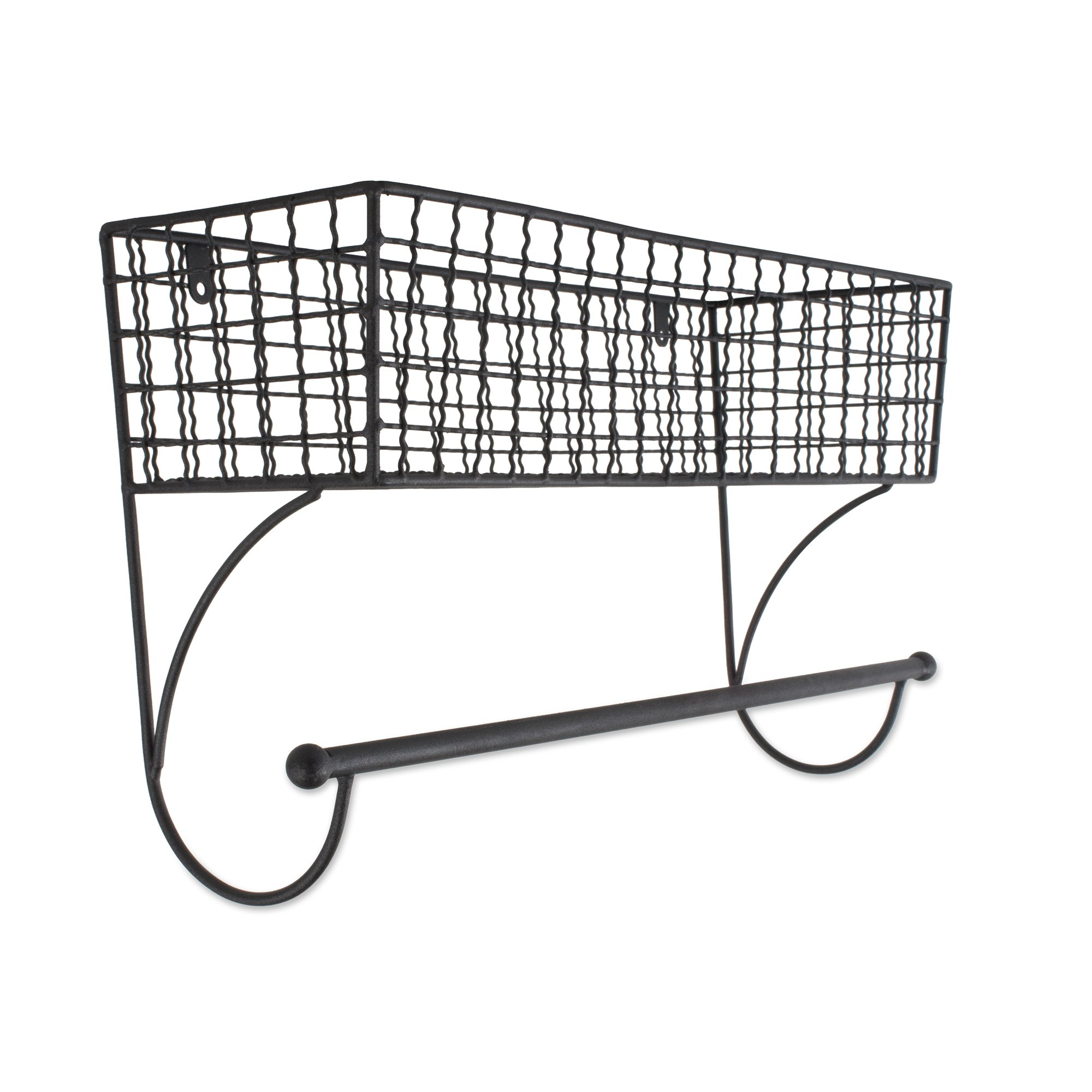 Home Traditions Z02225 Rustic Metal Wall Mount Shelf with Towel Bar, Large, Black by Home Traditions