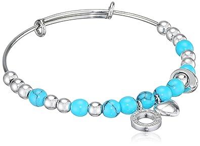 Emozioni Polished Beads Stainless Steel Bangle SNxYaH
