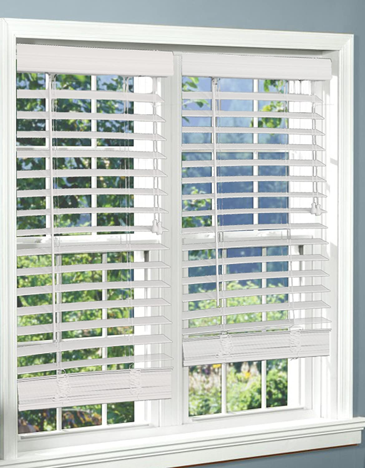 DEZ Furnishings QAWT330480 Corded 2 Inch Faux Wood Blind, White, 33W x 48L Inches