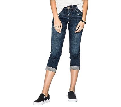 2115b388f54804 Silver Jeans Co. Women's Suki Curvy Fit Mid Rise Capri, Dark Denimotion,  24x22