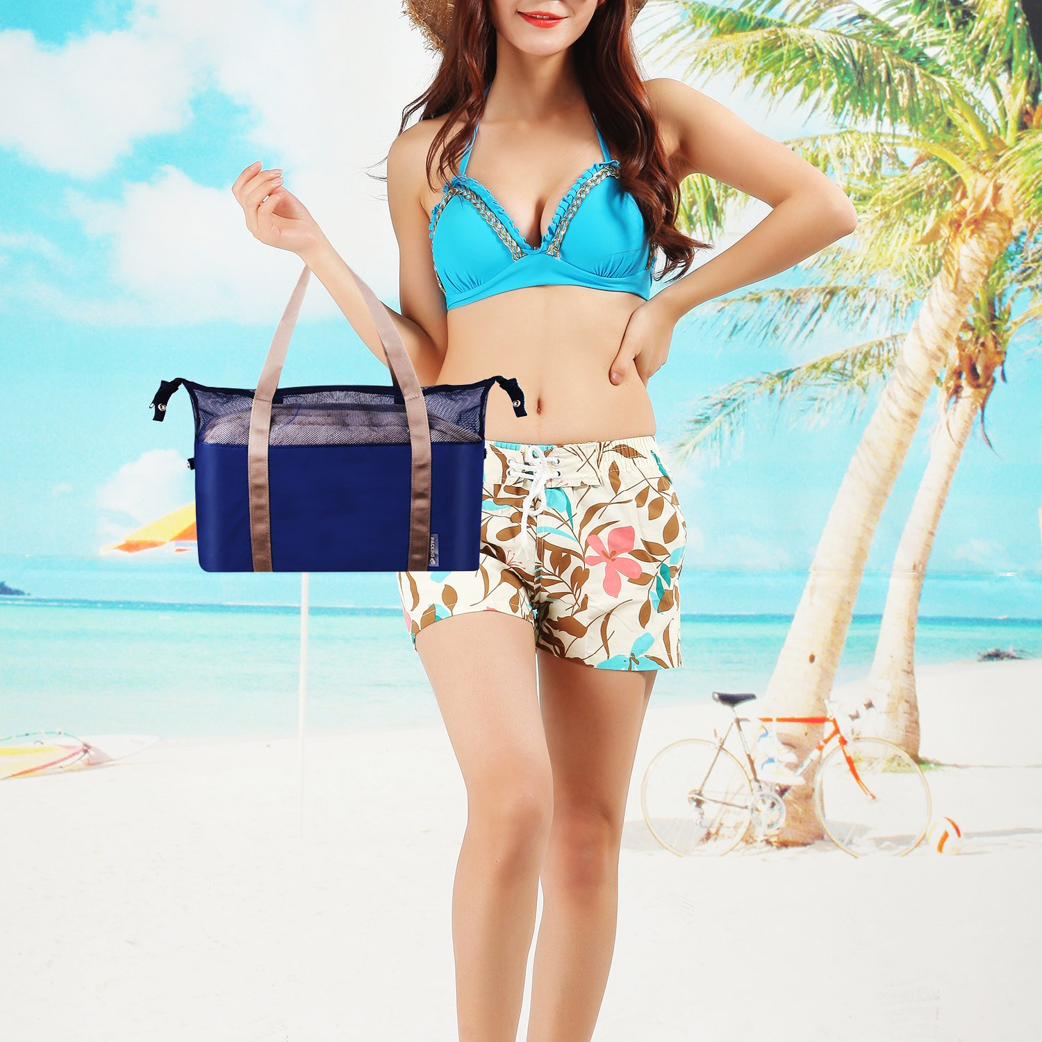 Beach Bag, Mesh Bag with Zipper Closure, The Size Can Be Adjuste, Perfect for Work, School, Sports, Beach, Travel, Shopping and Camping.