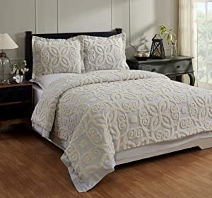 Better Trends Eden Comforter Collection 100% Cotton Tufted Unique Luxurious Soft Plush Chenille Machine Washable Tumble Dry, King, Gray & Ivory,QUEDKIGRIV,3