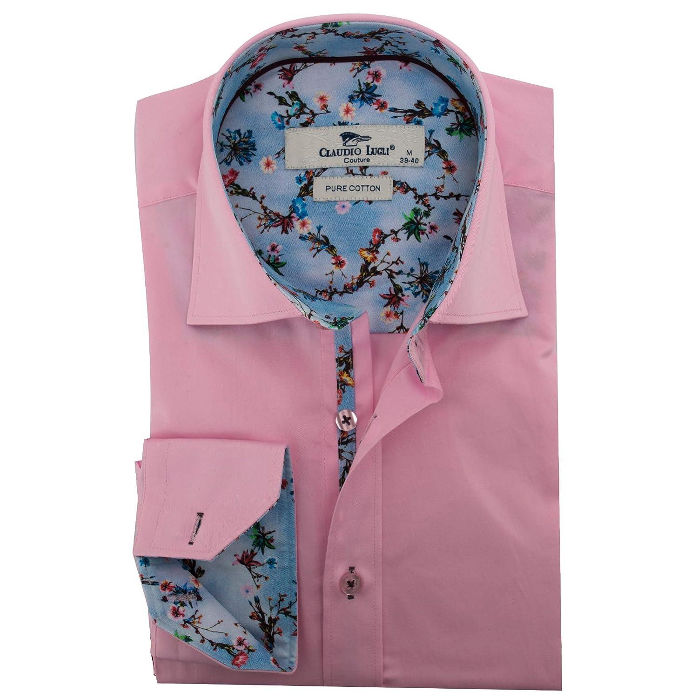 32ed7a8db20e Claudio Lugli Tie Dye Flower Trim Mens Shirt Large Pink Pink at Amazon Men's  Clothing store: