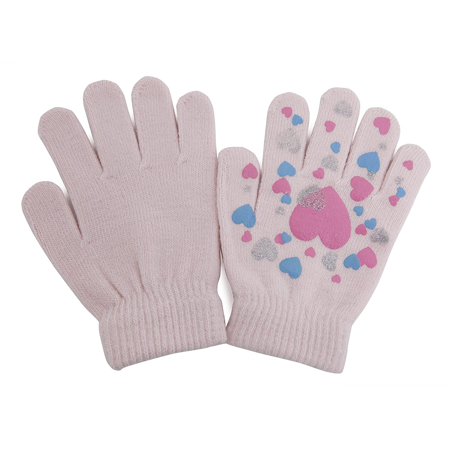 Girls Fun Winter Magic Gloves with Rubber Print (Up to 12 years) (Baby Pink) UTGL473_5