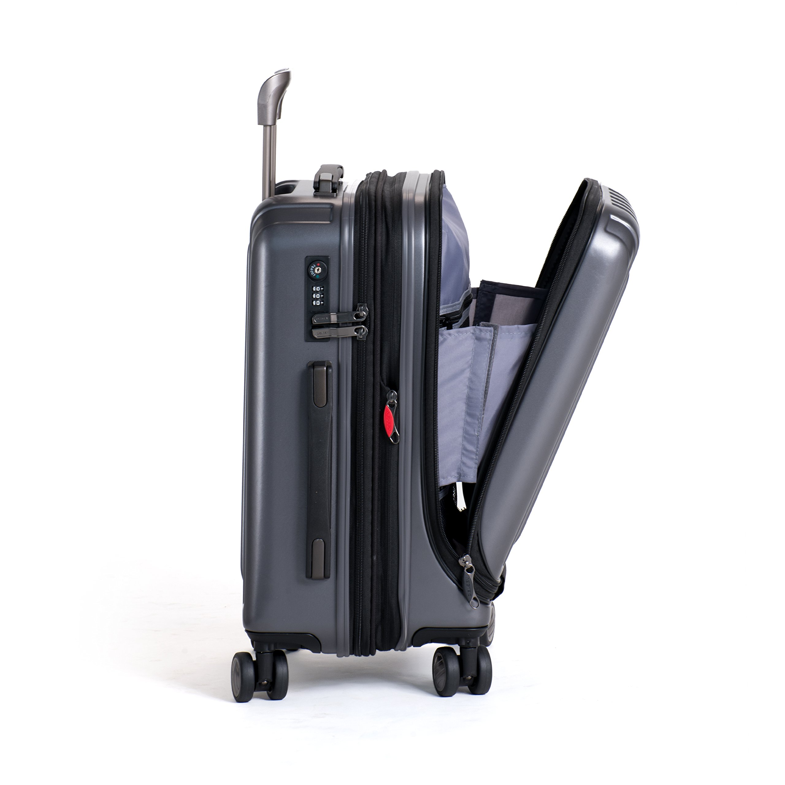 36f6ef0b86 Delsey Luggage Helium Titanium International Carry-On EXP Spinner Trolley  Metallic