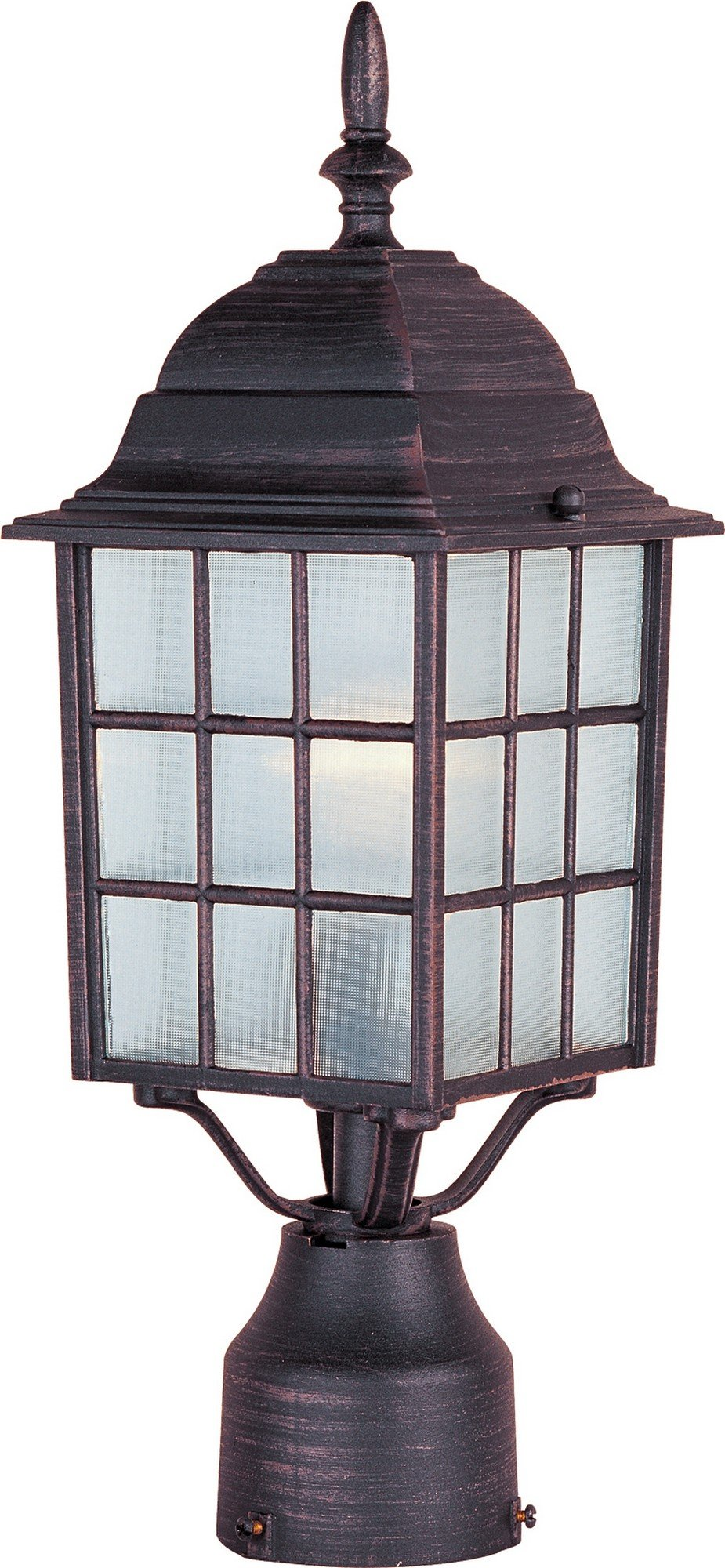 Maxim 1052RP North Church 1-Light Outdoor Pole/Post Lantern, Rust Patina Finish, Clear Glass, MB Incandescent Incandescent Bulb , 60W Max., Dry Safety Rating, Standard Dimmable, Glass Shade Material, 10080 Rated Lumens