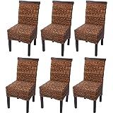 Set 6x sedie M45 intreccio di banano gambe scure 96x46x55cm ~ senza cuscino