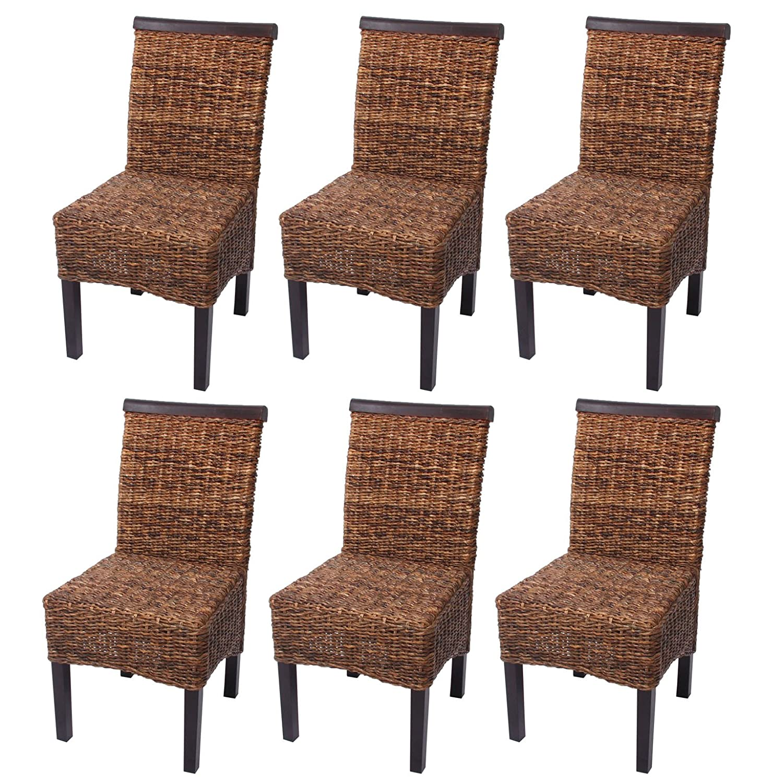 Set 6x sedie M45 intreccio di banano gambe scure 96x46x55cm ~ senza ...