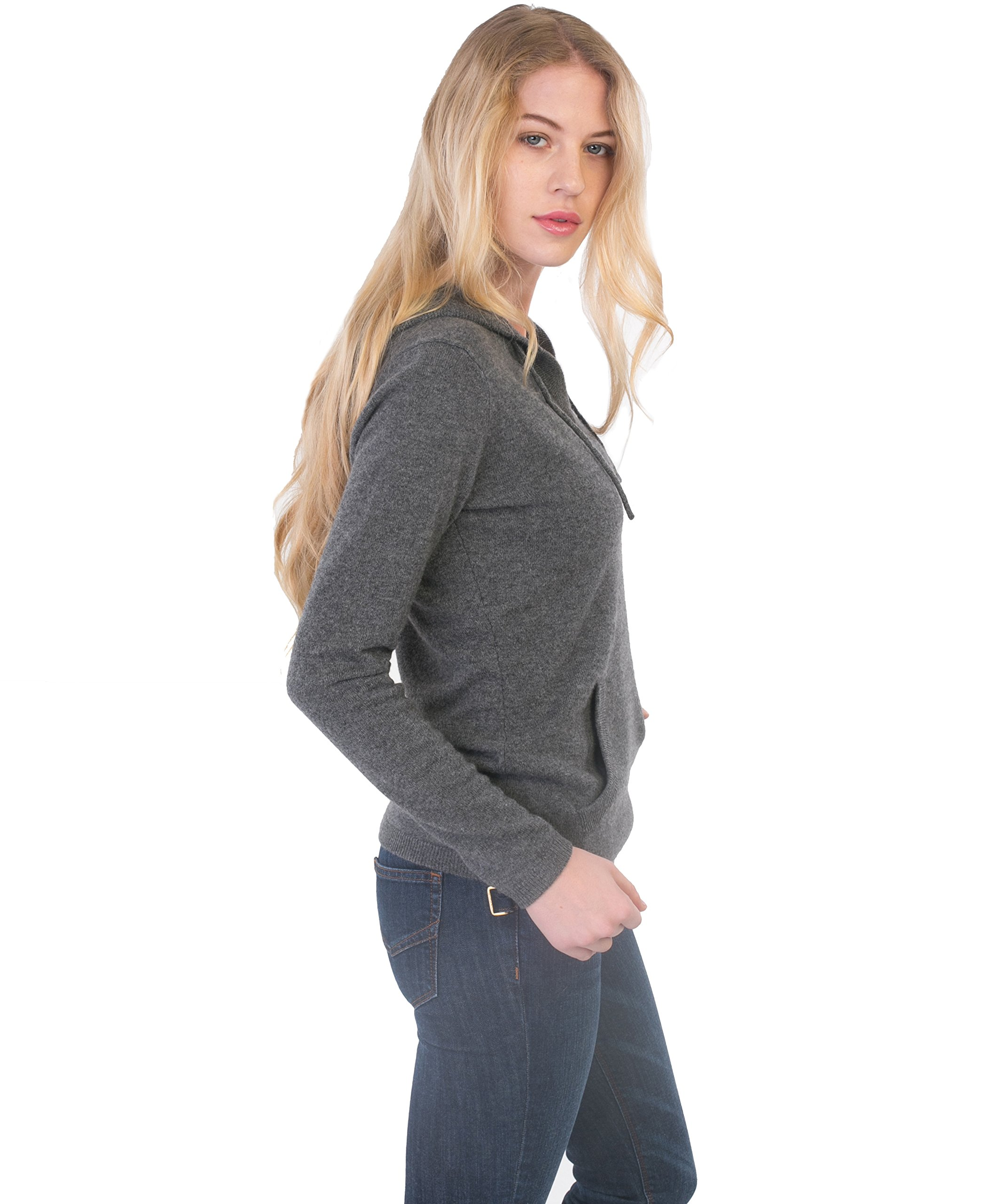 cashmere 4 U Women's 100% Cashmere V Neck Hoodie Sweater Pullover (X-Large, Gris Moyen) by cashmere 4 U (Image #3)