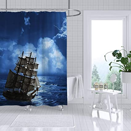 amazon com adiucmcz stormy seas wallpaper shower curtain fabric rh amazon com bathroom decor sets target bathroom decor sets for sale